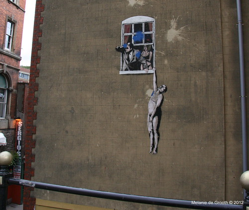 Banksy Stencil - Lover Naked Out of the Window 2