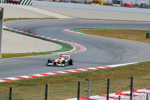 Nico Hulkenberg in his Force India F1 car in Formula One Winter Testing, Circuit de Catalunya, March 2012