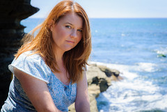 Lori at the Cove II (Blake Coble) Tags: ocean california vacation portrait beach nikon bokeh cove snapshot july lajolla redhead lori wife freckles 2012 lajollacove d90