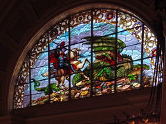 St George Slaying Dragon - Stained Glass - St Georges Hall - Liverpool - Northwest England  (4) (Aleksander & Milam) Tags: uk england liverpool dragon stainedglass saintgeorge northwestengland slaying saintgeorgeshall