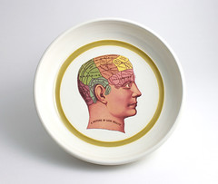Phrenology Bowl with Chartreuse Green Stripe (lltownley) Tags: art ceramics handmade chartreuse bowl brain science personality pottery etsy biology phrenology pseudoscience greenstripe