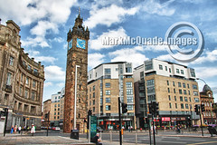 Glasgow (MMcQuade) Tags: road summer sky signs tower clock clouds lights scotland traffic glasgow august 2012 trongate