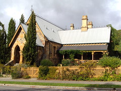 1868 Gothic Police Station and Court House in Clarendon, the Adelaide Hills South Australia. It is now an antiques shop open on Sundays.