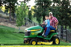 Hi Rye (Greg Berdan) Tags: boy tractor man green yard big father small aaron lawn large son rye tiny mower mathison