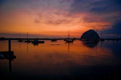 Morro Bay (Lenscape Trix) Tags: ocean california sunset usa 20d rock america canon boats bay harbor pacific harbour yachts morro