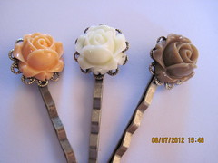 Flower Hair pins, Rosebuds in Autumn Colors, Set of 3 bobby pins, Hair accessory (Belladesigns20) Tags: school wedding brown fall back ivory autumncolors rosebuds bobbypin oranage