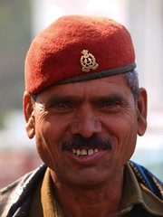 Agra - Man (sharko333) Tags: portrait people india man military police agra olympus indien e5 barett earthasia