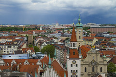 Munich, view from Rathaus (Princess Ruto) Tags: munich mnchen germany city buildings rathaus view clouds roof church tower cloudy overcast street