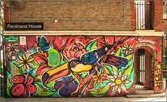 Street Art: Camden (Mabacam) Tags: 2016 london camden streetart wallart urbanart publicart spraycanart aerosolart painting paint mural freehand graffiti urbanwall wall exotic tropical bird toucan