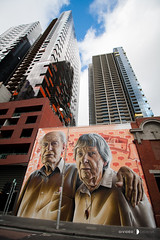 Grandparents mural by Smug 30-07-16 (Divided Creative) Tags: melbourne victoria australia lonsdalest streetart graffiti smug smugone grandparents mural city building outdoors citipower powercor