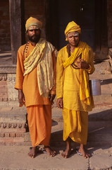 Pashupatinath Holy Men (robertdownie) Tags: river temple orange kathmandu meditation monk robe ashram nepal pashupatinath hindu bagmati