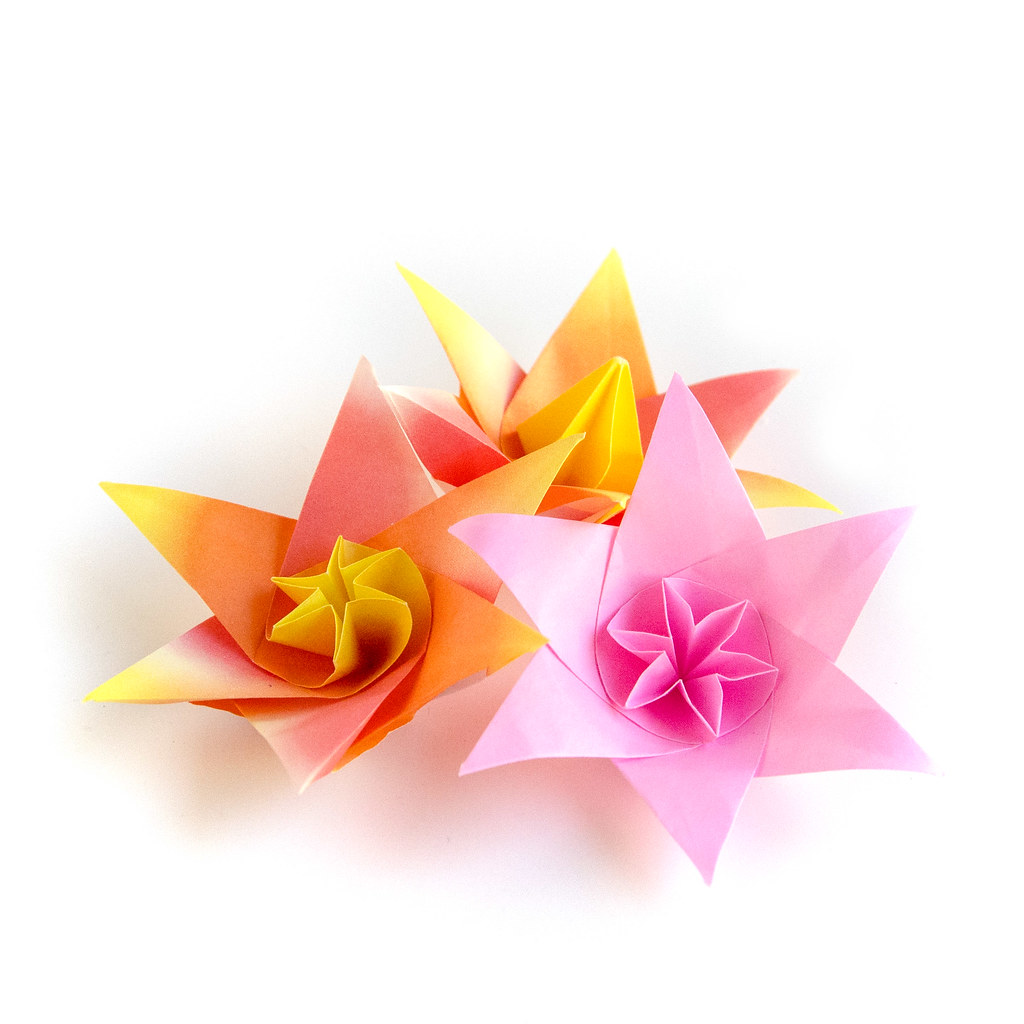 The worlds best photos of flower and papercraft flickr hive mind origami flowers ekaterina tags origami paper paperfolding orange yellow pink flower mightylinksfo