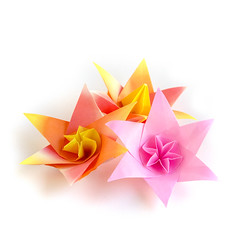 #Origami #Flowers (_Ekaterina) Tags: origami paper paperfolding orange yellow pink flower papercraft