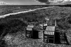 Melancholy (Pawe Szczepaski) Tags: baltic beach bench blue boat chair clouds europe european grass greenery horizon landscape lawn marine ocean relax rest rope scandinavia scandinavian scania sea sky stormy sweden swedish view wave wind windy ystad skania szwecja se