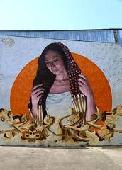 The Lady of the Rising Sun (Alex L'aventurier,) Tags: montreal montral qubec quebec canada graffiti street rue murale mural art mur wall colors colour couleurs parking stationnement public city ville urbain urban ciel sky