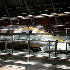 2016-08-07: Eurostar (psyxjaw) Tags: london londonist stpancras eurostar train highspeed railway light dappled
