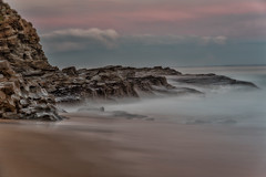 The sands on the shoreline will be shaking (BlueberryAsh) Tags: phillipisland panhandles panhandlerocks longexposure 10stopndfilter ocean sea sunset waves rocks shoreline sand australia nikon nikond750 nikon24120