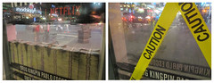 Narcos Bus Shelter Pile O Money AD - UPDATE 2115 (Brechtbug) Tags: narcos bus shelter pile o money ad tv show stop with piles slightly singed real fake or is it 2016 nyc right image taken 09102016 left 09172016 midtown manhattan new york city 49th street 7th ave st avenue moola bogus update they stole