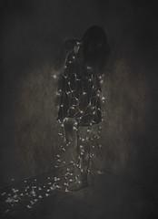 Luminous (Cara Steed) Tags: indoor lights portrait selfportrait blackandwhite