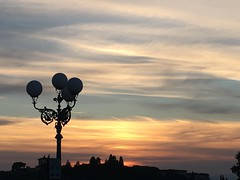 Sunset in Florence (beatricefenorasi) Tags: holiday voyage afternoon evening landscape view sight panorama michelangelo piazzale street blue orange yellow clouds sky sun sunset italia italy firenze florence