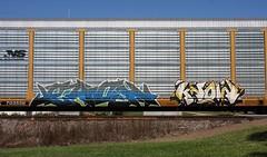 Each/Know (quiet-silence) Tags: graffiti graff freight fr8 train railroad railcar art each know autorack ns norfolksouthern