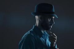 Self-Portrait in IR (budrowilson) Tags: strobist lifepixel infrared selfportrait eos7d ef35mmf2isusm hat