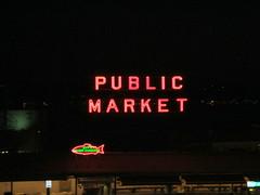 Seattle - Pike Place Market at Night (jrozwado) Tags: northamerica usa washington seattle pikeplacemarket sign publicmarket