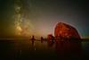 Haystack Rock and Milky Way (eikonologos.images) Tags: haystackrock cannonbeach oregon night nikondf zeiss15mm milkyway