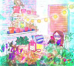 anna chillin' in her balcony (crosti) Tags: anna plants dog love window coffee girl illustration happy dawn lights glasses candle sweet balcony bricks tomatoes strawberries garland bugs chillin summertime bohemian chewbacca crosti christinatsevis