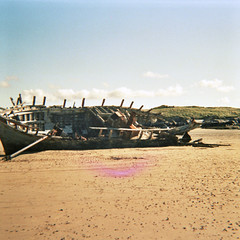 ---_1849 (Charlie.Waters) Tags: ireland sea holiday signs 120 film beach swimming boat dangerous lomo lomography ship head diana shipwreck f wreck dianaf donegal 120mm ulster currents fanad