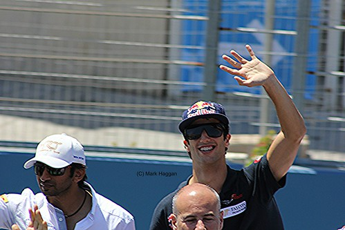 Jean-Eric Vergne on the drivers' parade before the 2012 European Grand Prix in Valencia