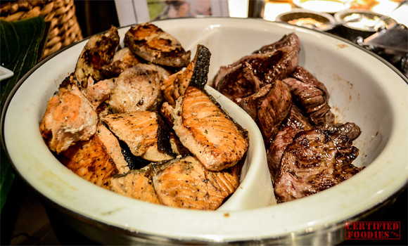 Grilled salmon and tuna at Cafe Jeepney