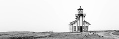 Point Cabrillo Lighthouse (Scott Sharick) Tags: ocean california sea bw lighthouse building landscape us blackwhite unitedstatesofamerica panoramic structure pacificocean fortbragg fresnellens pointcabrillolighthouse pointcabrillo