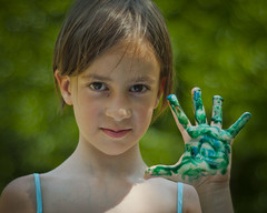 (ShafraVista) Tags: green girl paint hand