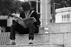 Morning Devotions (Ian Sane) Tags: street morning 2 two urban white man black coffee hat oregon square portland ian photography reading newspaper downtown candid broadway images part starbucks series courthouse meditation avenue morrison pioneer 6th yamhill sane devotions