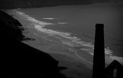 St Agnes (mplatt86) Tags: uk sea summer sky blackandwhite cloud mist southwest beach birds st mine cornwall waves heather cliffs agnes tinmine stagnes