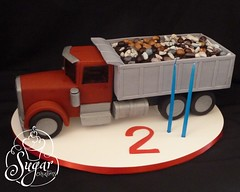 dump truck birthday cake (RebeccaSutterby) Tags: birthday boy red cake toddler rocks dumptruck semi dirt peterbilt 2ndbirthday