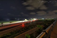 Beach road (AliTweel) Tags: park light lightpainting beach night trails nighttime lighttrails libya tripoli hdr beachroad 2n1