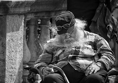 how to take a nap (White_V) Tags: street sleeping sun man london hat beard glasses chair nap sitting wb elderly sunnyday 2012 whiteandblack