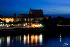 From the Augustusbruecke (chris.bonatto) Tags: light night germany teatro dresden long exposure sachsen altstadt theather mirroreffect