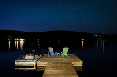 Night. (Quinn.Campbell) Tags: blue lake canada nature water night dark stars dock nikon paintingwithlight boar onatrio d5100