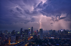 Lightning strikes Manila City (Sumarie Slabber) Tags: landscape lights lightning thunder weather clouds city sumarieslabber philippines manila skies sky skyscape skyline