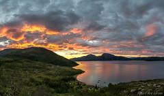 Full fyr i skyene over Skjelvika p Kvalya. (Kurt Are Larsen) Tags: sunset midnightsun midnattsol nikkor1424mmf28 nikond600 norway troms