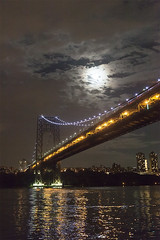Moon Over GW Bridge, 2016 (Jack Toolin) Tags: cities rivers bridges nighttime lowlight newyork hudsonriver georgewashingtonbridge jacktoolin