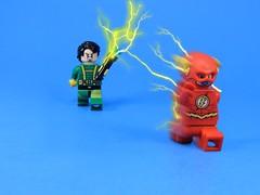 Weather Wizard Attack (-Metarix-) Tags: lego minifig dc comics comic flash weather wizard meta human super speed lightning bolt thunder wand controll running barry allen