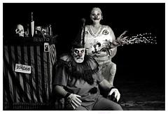 Benito and Baruska (Studio d'Xavier) Tags: werehere wordlesswednesday benito clown clowns creepyclowns bw circus cirquedxavier 365 september142016 258366 pagliacci