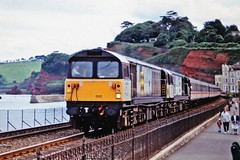 58002 + 58020 - The Paignton Decorator (Andrew Edkins) Tags: class58 58002 58020 dawmillcolliery doncasterworks bone doubleheader railtour dawlish thepaigntondecorator oldphoto diesel people geotagged