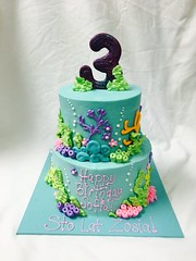 Ocean Cake (tasteoflovebakery) Tags: ocean under sea mermaid cake 3 two tier