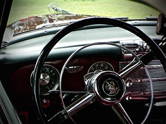 The View Through (the mindful fox) Tags: oldcarshow vintagecar classiccar mission steeringwheel dashboard hoodornament