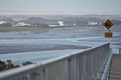 Murky days (Kiwi Jono) Tags: murky view christchurch nz estuary sign barrier smcpda70f24 pentax pentaxk5